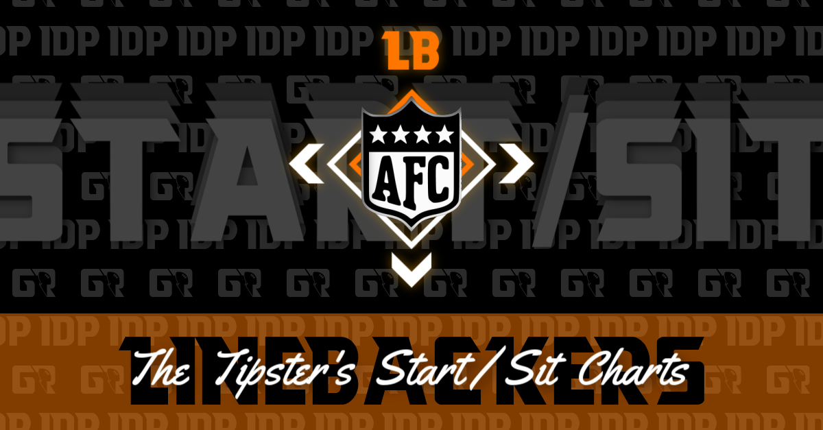 Fantasy Football Rankings WK13 AFC Linebacker IDP Start/Sit Charts